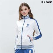K-Swiss Allover Print Zip Up Jacket休閒外套-女-白  S-XXL