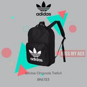 [KISS MY ACE]adidas Originals Trefoil 三葉草 大LOGO 後背包 黑 現貨