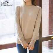 [Cats Romance] Women&#39 s Cache Touch Button Decorative Round Neck Knit (7color) [CA91] korean fash