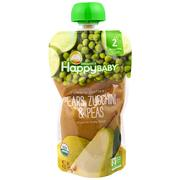 [iHerb] Happy Family Organics Organic Baby Food, Stage 2, Clearly Crafted 6+ Months, Pears, Zucchini & Peas, 4.0 oz (113 g)