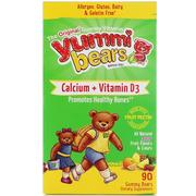 Hero Nutritional Products, Yummi Bears, Calcium + Vitamin D3, All Natural Sour Fruit Flavors, 90 Gummy Bears