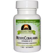[iHerb] Source Naturals, Vegan True, MethylCobalamin, Cherry Flavor, 1 mg, 60 Sublingual Tablets