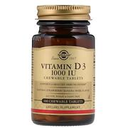 [iHerb] [iHerb] Solgar Vitamin D3, Natural Strawberry Banana Swirl Flavor, 1000 IU, 100 Chewable Tablets