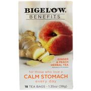 [iHerb] Bigelow, Calm Stomach, Ginger & Peach Herbal Tea, 18 Tea Bags, 1.35 oz (38 g)