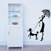 Art STICKER壁貼 。 Woman and dog walking (P008)