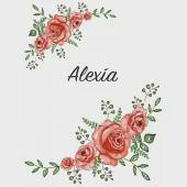 Alexía: Personalized Notebook with Flowers and First Name - Floral Cover (Red Rose Blooms). College Ruled (Narrow Lined) Journ