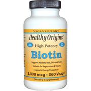 Healthy Origins, Biotin, High Potency, 5,000 mcg, 360 Vcaps