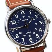 TIMEX INDIGLO冷光面板  Weekender 藍錶面 紅棕皮帶  40mm  TW2R42500