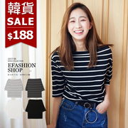《全店399免運》正韓簡約素色/條紋一字領棉質上衣-eFashion 預【F13282820】