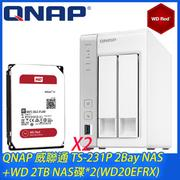 QNAP 威聯通 TS-231P 2Bay NAS+WD 2TB NAS碟*2(WD20EFRX)
