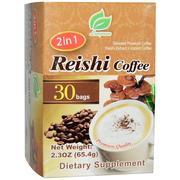 [iHerb] Longreen Corporation, 2 in 1 Reishi Coffee, Reishi Mushroom & Coffee, 30 Bags, 2.3 oz (65.4 g) Each