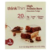 [iHerb] ThinkThin, High Protein Bars, Chocolate Fudge, 5 Pack, 2.1 oz (60 g) Each