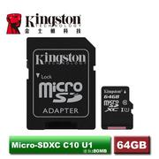金士頓 Canvas Select MicroSDXC/UHS-I C10 64GB 記憶卡 (SDCS/64GB)
