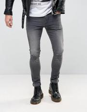 ASOS Super Skinny Jeans With Abrasions In Dark Gray