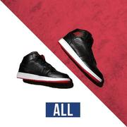 ~ALL~ NIKE AIR JORDAN 1 MID AJ1 BRED 554724-028 黑紅 皮革 中筒 男女款