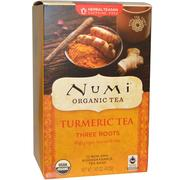 [iHerb] Numi Tea, Organic Turmeric Tea, Three Roots, Caffeine Free, 12 Tea Bags, 1.42 oz (40.2 g)