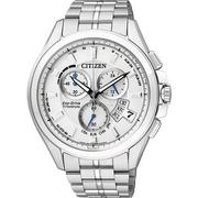 CITIZEN Eco-Drive 鈦金屬萬年曆電波男錶-白(BY0051-55A)