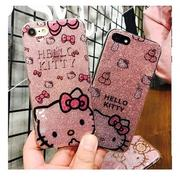閃粉 hello kitty 手機殼  Apple iphone6/i6plus/iphone7/7p/X 全包邊手機殼