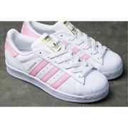 isneakers ADIDAS ORIGINALS SUPERSTAR S81019 全白粉紅金標 大童鞋 女鞋