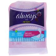 Always, Thin Active Dailies, Regular, Scented, 20 Liners