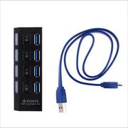 USB 3.0 Interface LED 4 Port HUB Splitter on/Off Switch