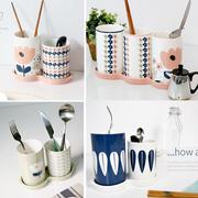 Cutlery Basket Tray Set★Nordic Flower Retro★Ceramics Kitchen Tool Utensils Holder/Organizer/Storage