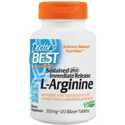 [iHerb] Doctor's Best, Sustained Plus Immediate Release L-Arginine, 500 mg, 120 Bilayer Tablets