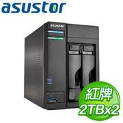 ASUSTOR華芸 AS-602T 2Bay NAS+WD 紅標 2TB 二顆(WD20EFRX)