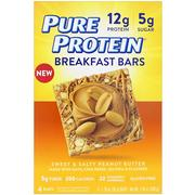 [iHerb] Pure Protein, Breakfast Bars, Sweet & Salty Peanut Butter, 4 Bars, 1.76 oz (50 g) Each