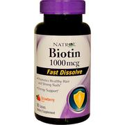Natrol, Biotin, Fast Dissolve, Strawberry Flavor, 1,000 mcg, 90 Tablets
