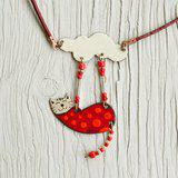 Cat necklace, Enamel necklace, Spotty cat, Polka dot, Cat jewelry, Cat And Cloud
