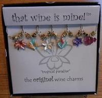 (Wine Things Unlimited) Set of Six Tropical Paradise Wine Glass Charms from That Wine is Mine - 1...
