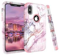 iPhone X Case VPR Marble Stone Pattern Design 3 in 1 Hybrid Cover Hard PC Soft Silicone Rubber H...
