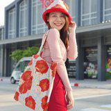 Handmade cotton tote bag with lining in poppy bouquet pattern