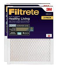 Filtrete 12x24x1 AC Furnace Air Filter MPR 2200 Healthy Living Elite Allergen 2-Pack (Renewed)