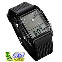 [105美國直購] Fanmis Men's 男士手錶 Rectangle Dial Sports Wrist Watch with Five Colors Optional LED Backlight Color Black