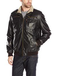 Levi s Men s Vintage Deer Touch Faux Leather Sherpa Lined Aviator Bomber