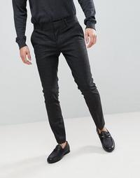 River Island Super Skinny Suit Pants In Dark Gray Check