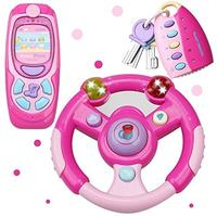 (Magic Cindy) MagicCindy 3 in 1 Interactive Musical Toys Steering Wheel Mobile Phone & Car Key...