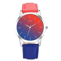 (HAH) Women Dress Wrist Watch Casual Colorful Strap Business Analog Watch with Iridescent Leather...