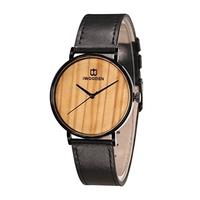(IWOODEN) Mens Dress Wrist Watch Quartz Analog Business Watch with Leather Band Stainless Steel 3...