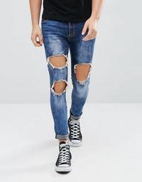 Liquor N Poker Thigh Rip Dark Blue Wash Super Skinny Jeans
