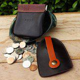 Set of Coin Bag & Key Case - Brown + Tan Strap (Genuine Cow Leather)