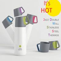 【Jazz Double Wall Stainless Steel Thermos】340ml Flask Vacuum Cup 24 hours Portable Water Drink Bottle/Life Sports Bicycle/Double insulation/Leak Proof Travel Mug Handle Drinking Lid Hot Cold