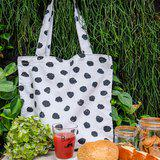 Handmade cotton tote bag with lining in black & white polka dot pattern