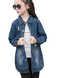 (Alion) Alion Little Girl Autumn Lapel Cotton Classic Slim Fit Hole Denim Jacket-