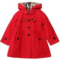 (Tueenhuge) Tueenhuge Little Girls Trench Coat Pleated Spring Fall Cotton Jacket Outwear with Hoo...