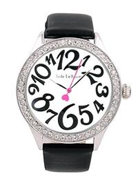 (ShoppeWatch) Womens Wrist Watch Black Leather Strap White Dial Large Easy Read Numerals Jade LeB...