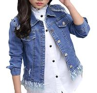 (Alion) Alion Little Girl Cotton Single-breasted Loose Casual Denim Jacket-