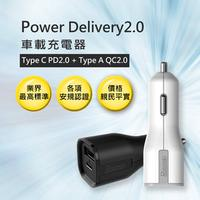 Power Delivery 2.0 車載充電器 / USB Type C PD2.0 + Type A QC2.0 / 黑色